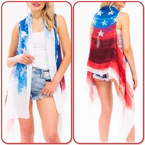 4th Of July America USA Flag Cover Up Viscose Vest